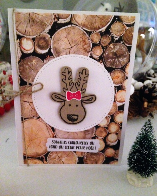 Carte de Noël Bloc de papiers de la Série Design Textures Bois + set de tampons Emporte-pièces de Noël